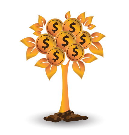Money tree, Financial and business concept. vector illustration.