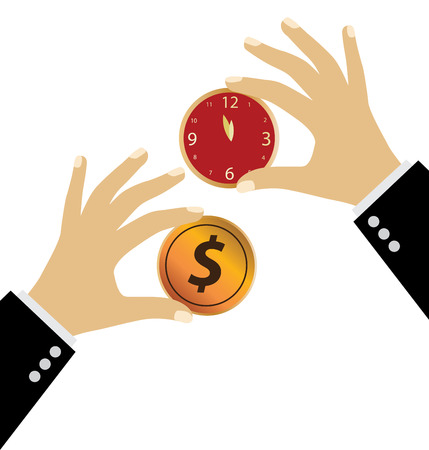 passive earnings: Hand holding money coin. Financial and business concept. vector illustration.