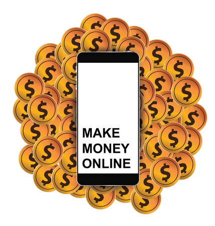money online: Make money online. Financial and business concept. vector illustration.