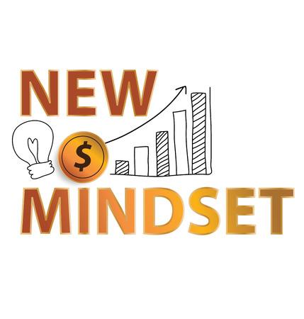 Nieuwe mindset, financiële en business concept. vector illustratie.