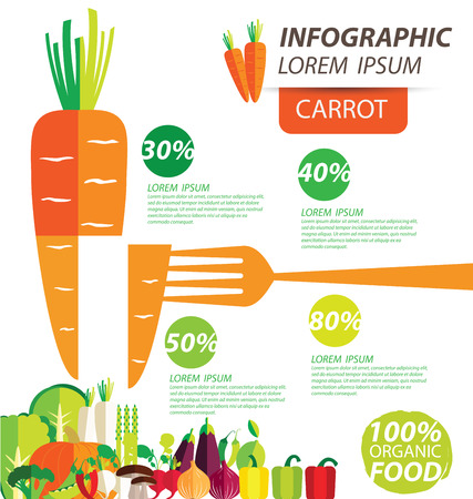 healthy eating: carrot , infographics. vegetables vector illustration