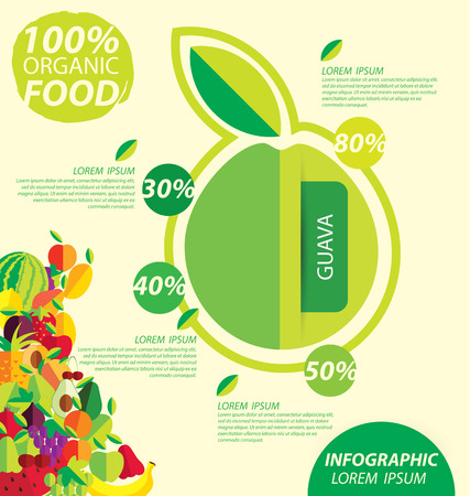 guava: guava, infographics. fruits vector illustration. Illustration