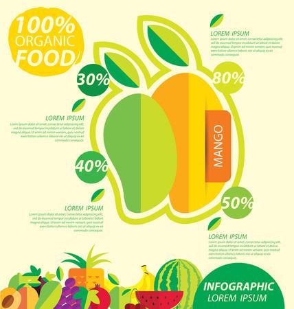 mango fruta: mango, infograf�as. frutas ilustraci�n vectorial.