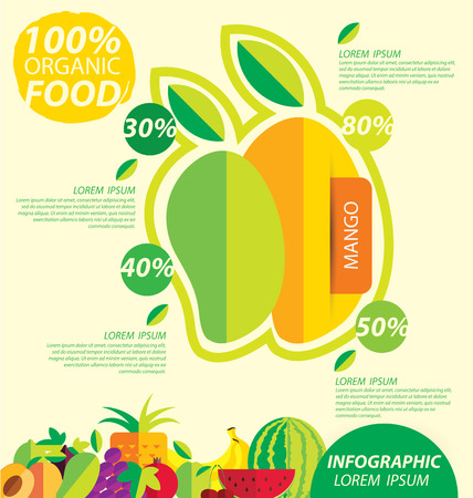 mango fruit: mango, infographics. fruits vector illustration. Illustration