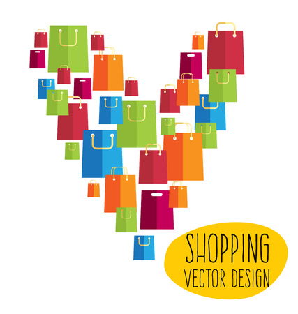 Colorful shopping bags in flat design style Vector
