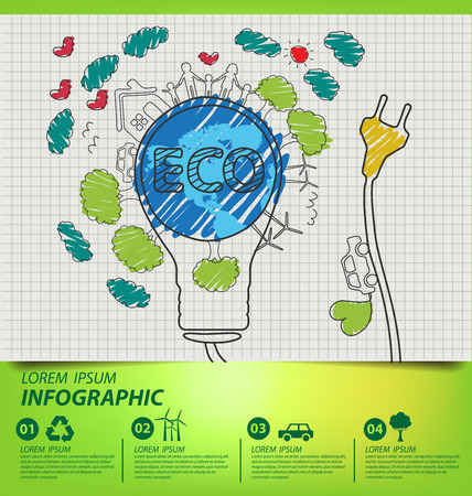 environment friendly: Creative drawing ecology concept. vector illustration.