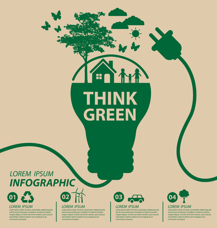 save energy: Ecology concept save world illustration.