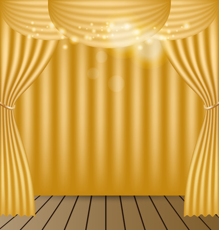 Gold Curtains Vector Background