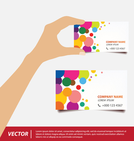 hand holding business card: Hand holding business card vector illustration