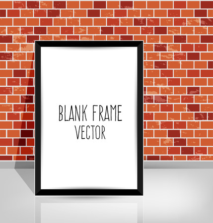white frame on a brick wall and the concrete floor Vector