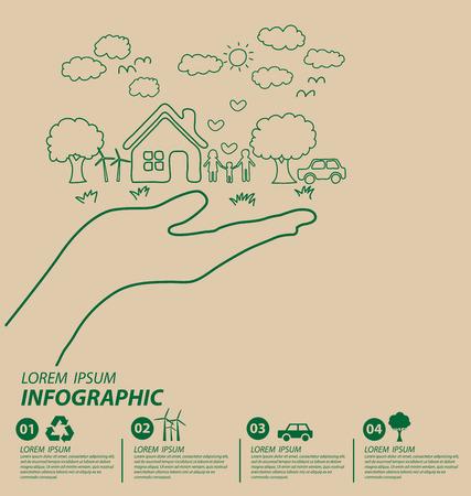 educacion ambiental: Concepto creativo dibujo ecología. Ilustración del vector.