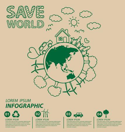 Creative drawing ecology concept. Vector illustration. Ilustração