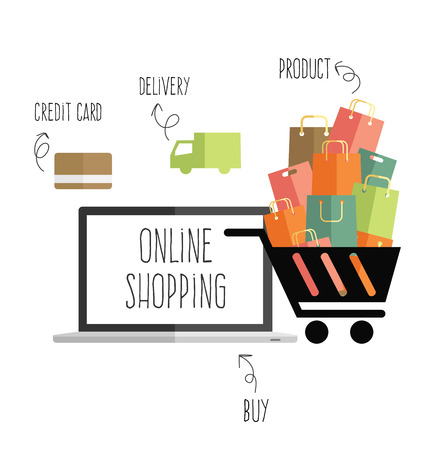 convenient store: online shopping vector