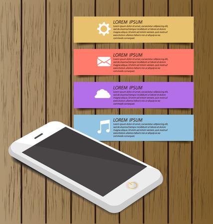 Smartphone with wooden bookcase background on screen for ebook. Modern infographic design template. Vector