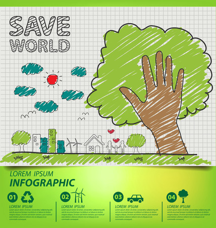 Creative drawing ecology concept. Vector illustration. Vectores
