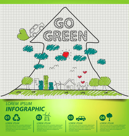 Creative drawing ecology concept. Vector illustration. Vector