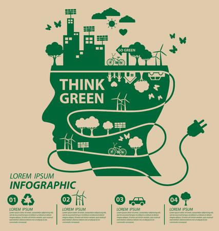 planeta verde: Concepto de la ecolog�a. guardar la ilustraci�n vectorial mundo.