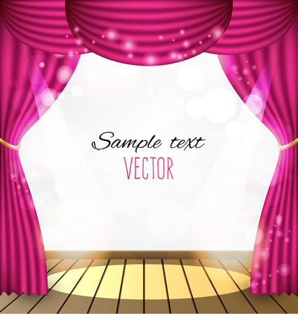 Pink curtains vector background 일러스트
