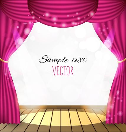 Pink curtains vector background Stock Illustratie