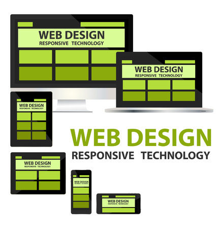 flexible business: responsive web design concept vector