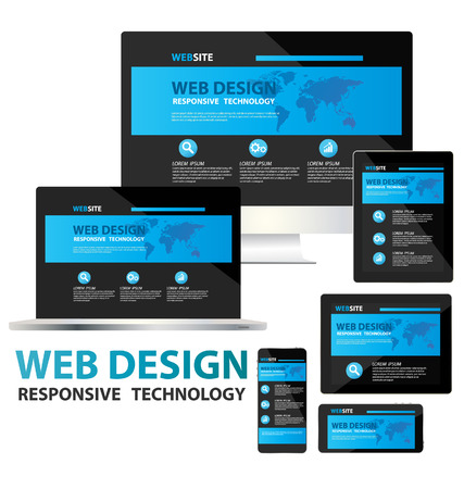 web icons set: responsive web design concept vector