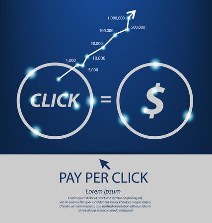 consumer society: Pay per click concept. PPC. vector Illustration.