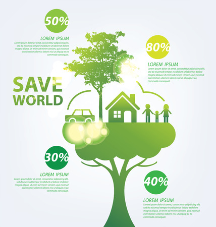 Ecology concept. save world vector illustration. Banco de Imagens - 37155449