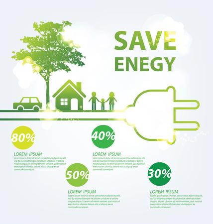 environmental education: Concepto de la ecolog�a. guardar la ilustraci�n vectorial mundo.