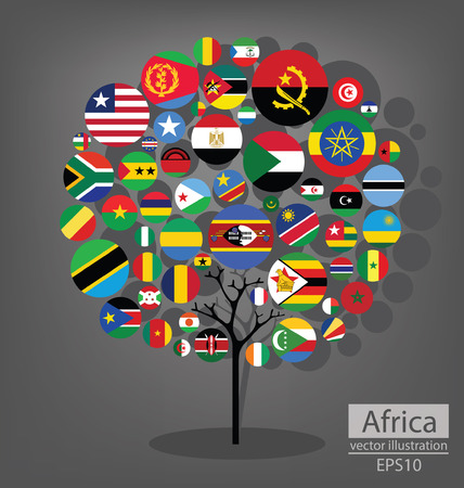 Tree design. Flag of Africa. vector Illustration. Vector