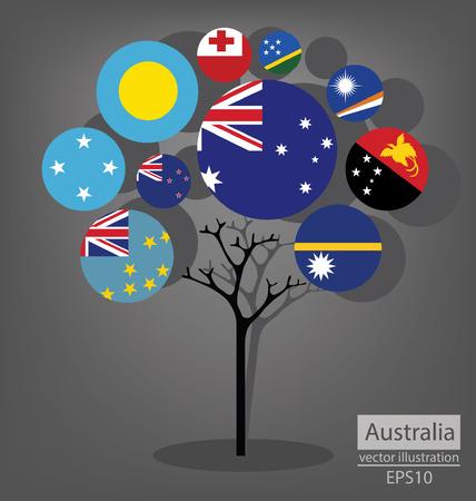Tree design. Flag of Australia. vector Illustration. Vector