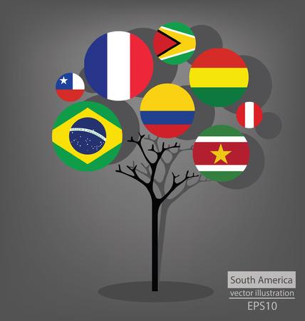 Tree design. Flag of South america. vector Illustration.