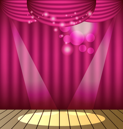 Pink curtains vector background Çizim
