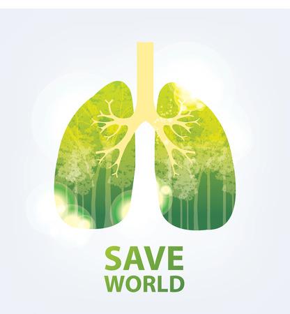 Go green concept. Save world vector Illustration. Vettoriali