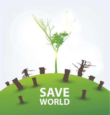 Go green concept. Save world vector Illustration. Vector