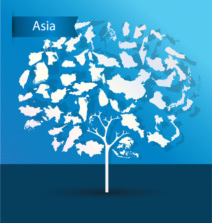 Tree design. Countries in Asia. World Map vector Illustration. Vector
