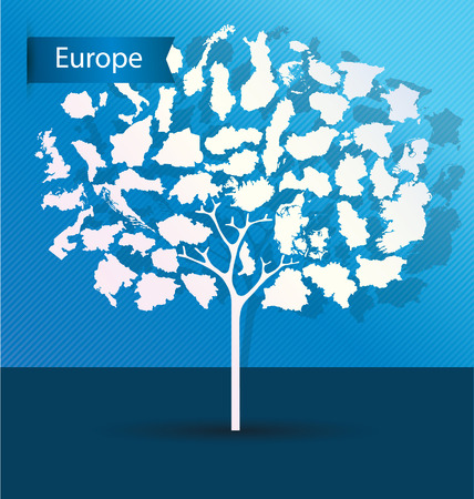 Tree design. Countries in Europe. World Map vector Illustration. Vector