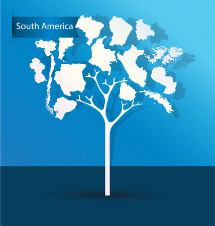 port of spain: Tree design. Countries in South america. World Map vector Illustration.