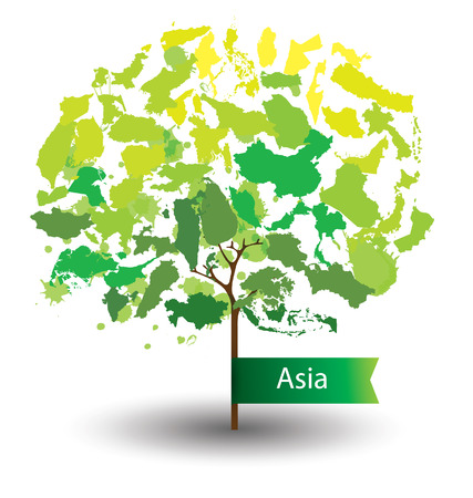 brunei darussalam: Tree design. Countries in Asia. World Map vector Illustration.