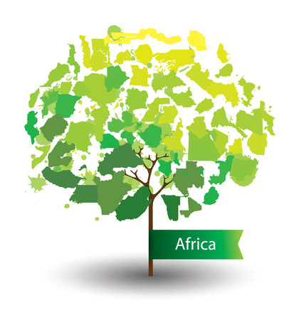 Tree design. Countries in Africa. World Map vector Illustration. Vector