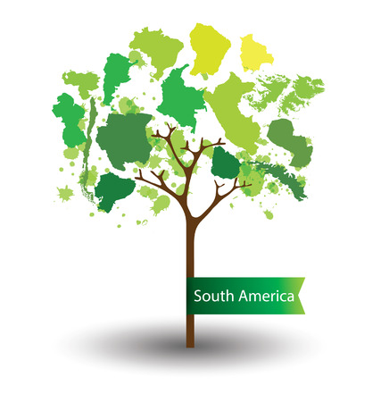 georgetown: Tree design. Countries in South america. World Map vector Illustration.