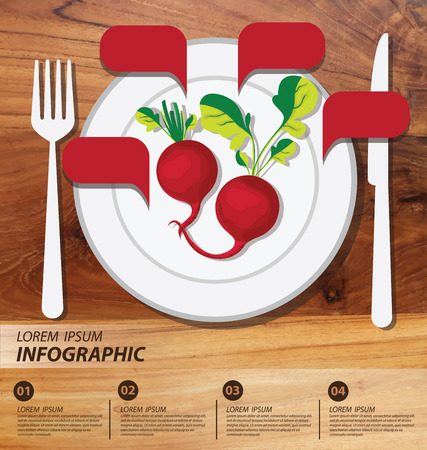 radish infographics. vegetables vector illustration Vector