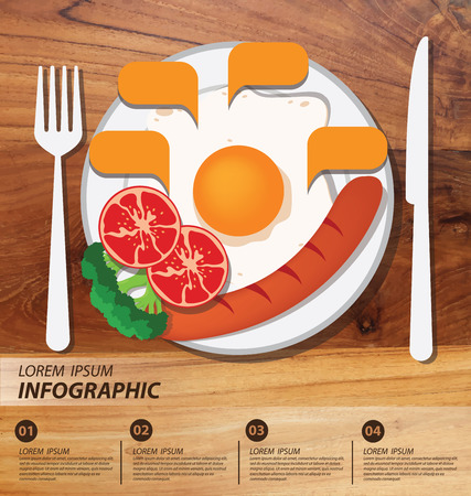 Breakfast. Illustration of food infographics. Vector