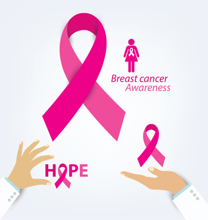 cancer ribbon: healthcare and medicine concept. womans hands holding pink breast cancer awareness ribbon vector illustration.