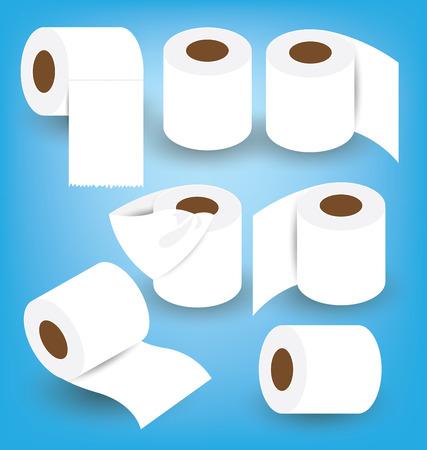 papel de baño: Papel higiénico establecer ilustración vectorial Vectores