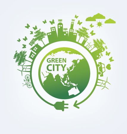 ecological environment: Ecology concept. save world vector illustration. Illustration