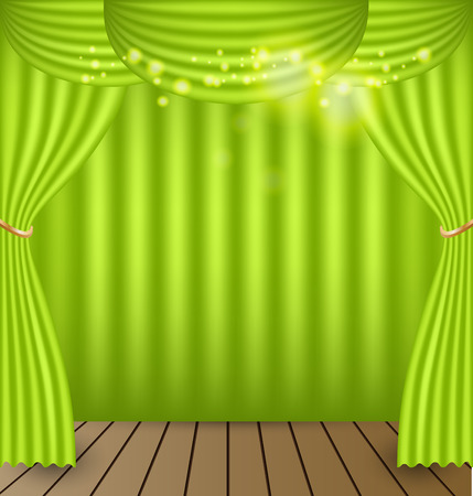 classical theater: Green curtains vector background