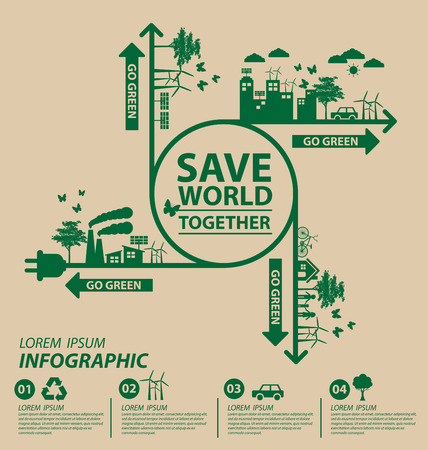 Ecology concept. save world vector illustration. Çizim