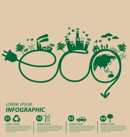 planeta verde: Concepto de la ecología. guardar la ilustración vectorial mundo.