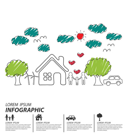 Creative drawing ecology and happy family concept, Vector illustration design template. Vector