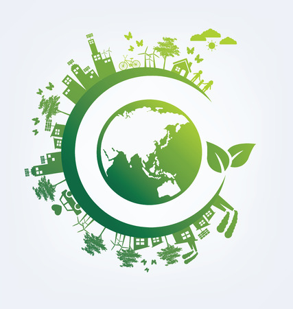 Ecology concept. save world vector illustration. Stock Illustratie